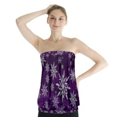 Christmas Star Ice Crystal Purple Background Strapless Top by BangZart