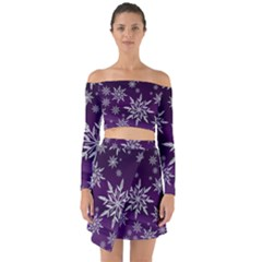 Christmas Star Ice Crystal Purple Background Off Shoulder Top With Skirt Set