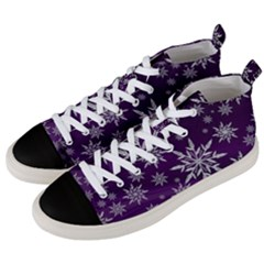 Christmas Star Ice Crystal Purple Background Men s Mid Top Canvas Sneakers by BangZart