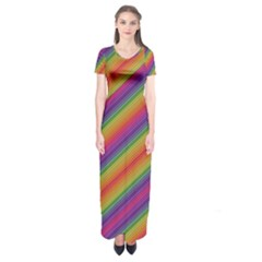 Spectrum Psychedelic Short Sleeve Maxi Dress
