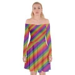 Spectrum Psychedelic Off Shoulder Skater Dress