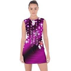 Background Christmas Star Advent Lace Up Front Bodycon Dress