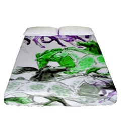 Horse Horses Animal World Green Fitted Sheet (queen Size) by BangZart