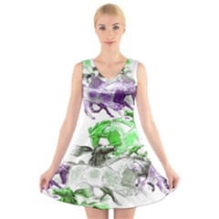Horse Horses Animal World Green V Neck Sleeveless Skater Dress