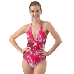 Christmas Star Advent Background Halter Cut Out One Piece Swimsuit