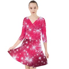 Christmas Star Advent Background Quarter Sleeve Front Wrap Dress