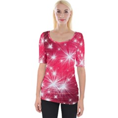 Christmas Star Advent Background Wide Neckline Tee