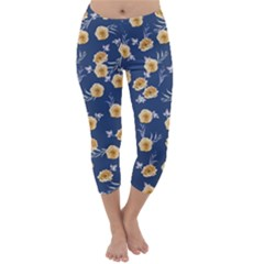 Golden Roses Capri Winter Leggings  by jumpercat