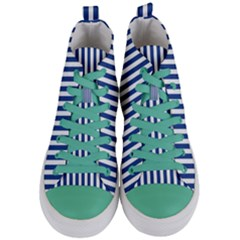 Blue Stripes Women s Mid Top Canvas Sneakers