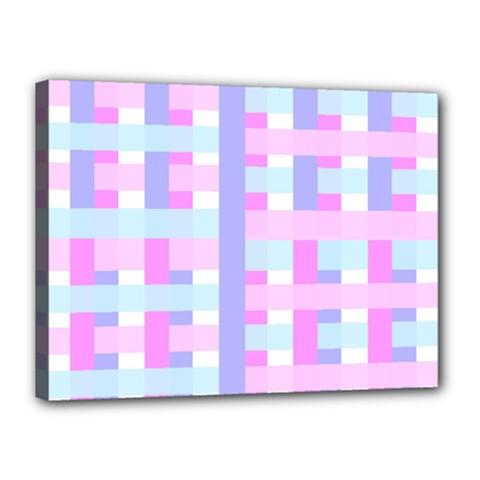 Gingham Nursery Baby Blue Pink Canvas 16  X 12