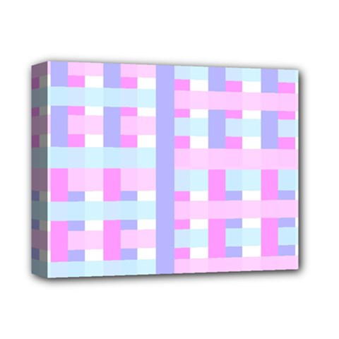 Gingham Nursery Baby Blue Pink Deluxe Canvas 14  X 11