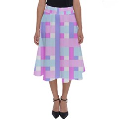 Gingham Nursery Baby Blue Pink Perfect Length Midi Skirt