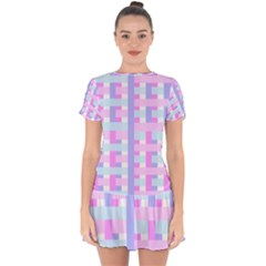 Gingham Nursery Baby Blue Pink Drop Hem Mini Chiffon Dress