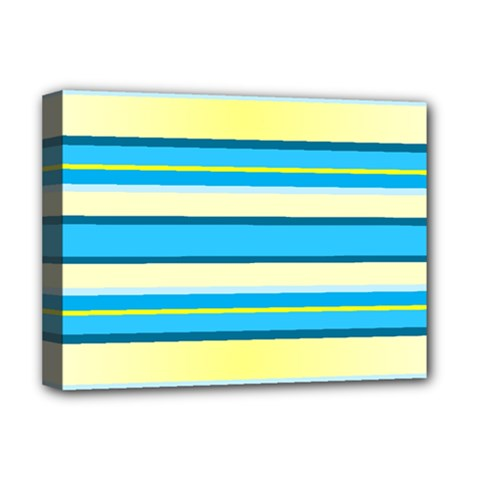 Stripes Yellow Aqua Blue White Deluxe Canvas 16  X 12   by BangZart