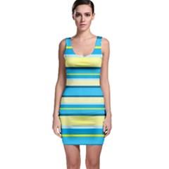 Stripes Yellow Aqua Blue White Bodycon Dress