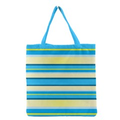 Stripes Yellow Aqua Blue White Grocery Tote Bag