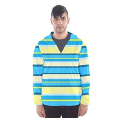 Stripes Yellow Aqua Blue White Hooded Wind Breaker (men) by BangZart