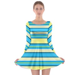 Stripes Yellow Aqua Blue White Long Sleeve Skater Dress
