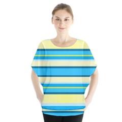 Stripes Yellow Aqua Blue White Blouse