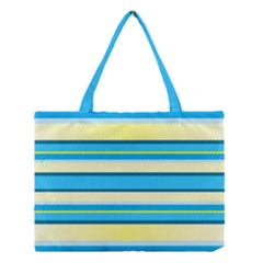 Stripes Yellow Aqua Blue White Medium Tote Bag