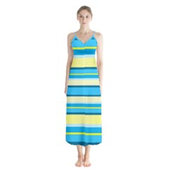 Stripes Yellow Aqua Blue White Button Up Chiffon Maxi Dress