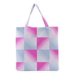 Gradient Blue Pink Geometric Grocery Tote Bag