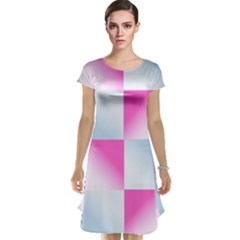 Gradient Blue Pink Geometric Cap Sleeve Nightdress