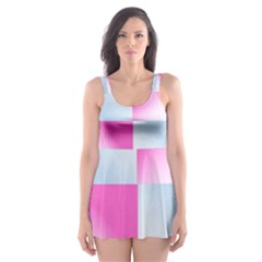 Gradient Blue Pink Geometric Skater Dress Swimsuit