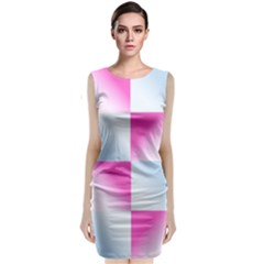 Gradient Blue Pink Geometric Classic Sleeveless Midi Dress
