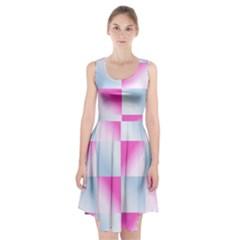 Gradient Blue Pink Geometric Racerback Midi Dress