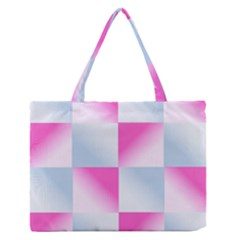 Gradient Blue Pink Geometric Zipper Medium Tote Bag