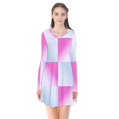 Gradient Blue Pink Geometric Flare Dress