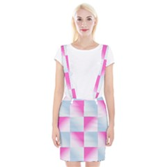 Gradient Blue Pink Geometric Braces Suspender Skirt