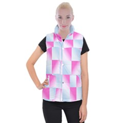 Gradient Blue Pink Geometric Women s Button Up Puffer Vest