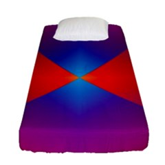 Geometric Blue Violet Red Gradient Fitted Sheet (single Size) by BangZart