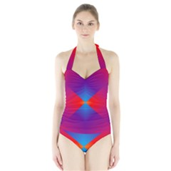Geometric Blue Violet Red Gradient Halter Swimsuit