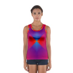 Geometric Blue Violet Red Gradient Sport Tank Top