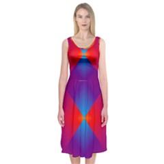 Geometric Blue Violet Red Gradient Midi Sleeveless Dress