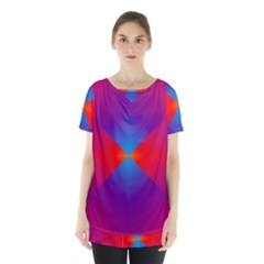 Geometric Blue Violet Red Gradient Skirt Hem Sports Top