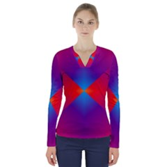 Geometric Blue Violet Red Gradient V Neck Long Sleeve Top