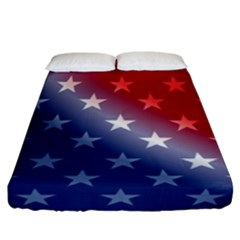 America Patriotic Red White Blue Fitted Sheet (california King Size)