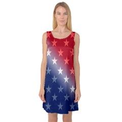 America Patriotic Red White Blue Sleeveless Satin Nightdress