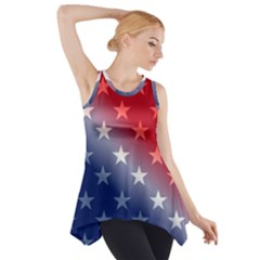 America Patriotic Red White Blue Side Drop Tank Tunic