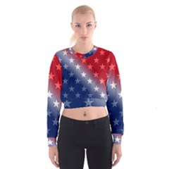 America Patriotic Red White Blue Cropped Sweatshirt