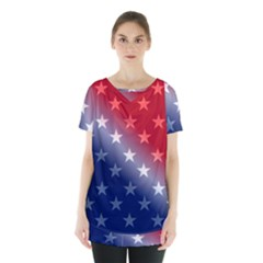 America Patriotic Red White Blue Skirt Hem Sports Top