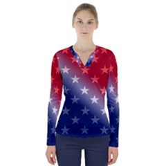 America Patriotic Red White Blue V Neck Long Sleeve Top