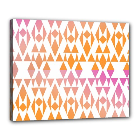 Geometric Abstract Orange Purple Canvas 20  X 16