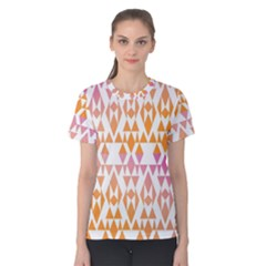 Geometric Abstract Orange Purple Women s Cotton Tee