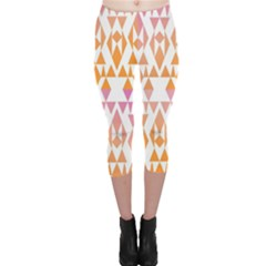 Geometric Abstract Orange Purple Capri Leggings