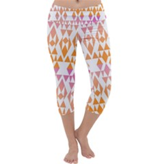 Geometric Abstract Orange Purple Capri Yoga Leggings